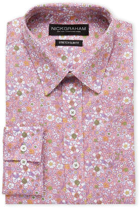 Nick Graham Pink Floral Stretch Slim Fit Dress Shirt