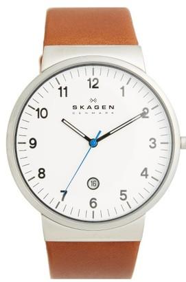 Skagen 'Ancher' Round Leather Strap Watch, 40Mm $145 thestylecure.com