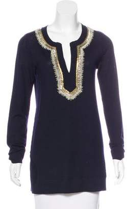 Tory Burch Embellished Merino Wool Sweater