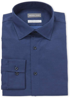 Michael Kors Navy Micro Diamond Regular Fit Dress Shirt