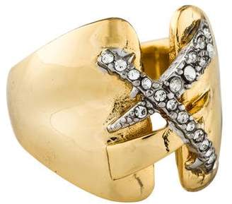 Alexis Bittar Crystal Encrusted Criss Cross Ring