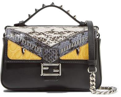 Fendi - Double Baguette Micro Elaphe And Crocodile-paneled Leather Shoulder Bag - Black