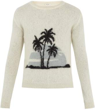 Saint Laurent Palm tree-intarsia crew-neck sweater