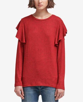 DKNY Flounce-Shoulder Sweater