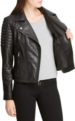 DKNY Quilted-Sleeve Leather Moto Jacket
