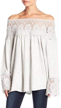 Muche et Muchette Lita Crochet Lace Off-the-Shoulder Sweater