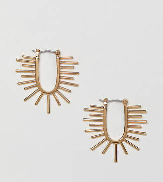 Asos Design DESIGN Premium gold plated hoop earrings with sun ray design