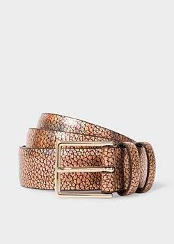 Paul Smith Men's Bronze Leather Double Keeper Belt