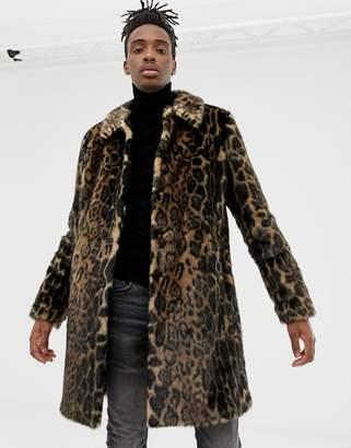 Asos Design DESIGN longline faux fur jacket in leopard print