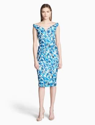 Calvin Klein floral print off-shoulder dress