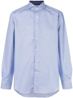 Canali fine check curved hem shirt