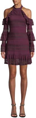 Parker Windham Lace Ruffle Cold-Shoulder Dress