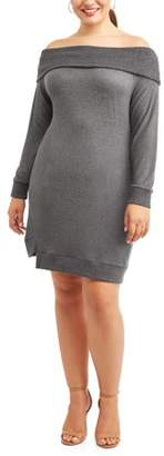 Cherokee Women's Plus Size Off Shoulder Brushed Cozy Knit Dress