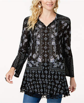 Style&Co. Style & Co Printed Lantern-Sleeve Tunic Top, Created for Macy's