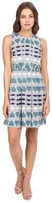 Donna Morgan Poly Twill Elastic Waist Wide Pleat Dress Women's Dress