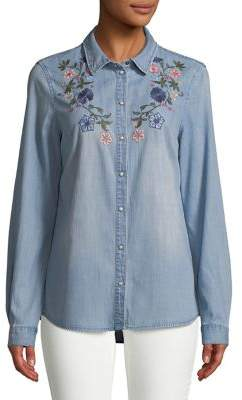Vero Moda Jenny Embroidered Chambray Button-Down Shirt