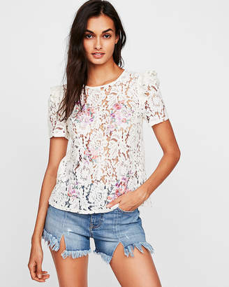 Express Lace Floral Embroidered Tie Back Tee