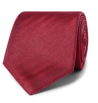 Brioni 8cm Herringbone Silk Tie - Men - Red