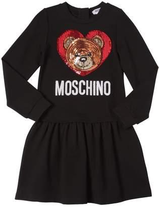 Moschino Sequined Cotton Sweatshirt Dress