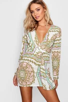 boohoo Scarf Print Twist Wrap Shift Dress
