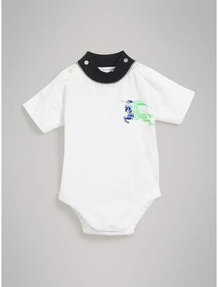 Burberry Childrens Equestrian Knight Print Cotton Bodysuit