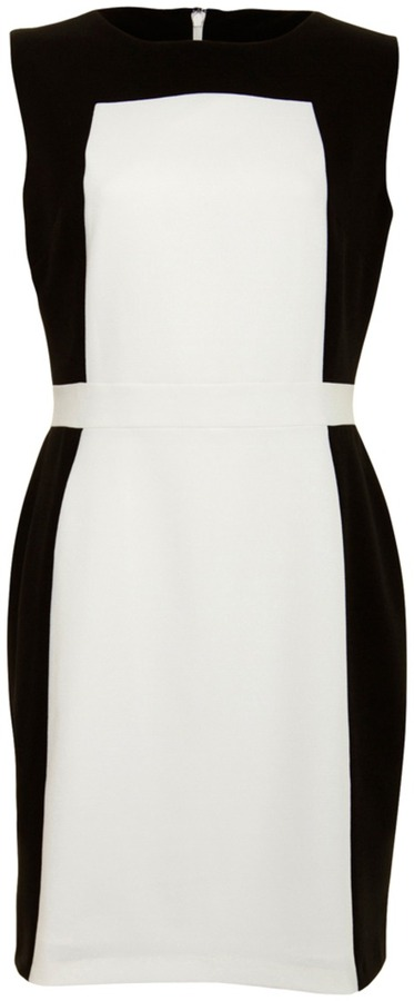 White/Black Structured Fitted Dress