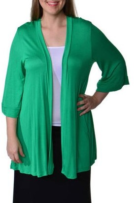 24/7 Comfort Apparel Women's Plus Size 3/4 Sleeve Open Shrug