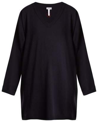 Loewe Oversized V Neck Wool Sweater - Womens - Navy