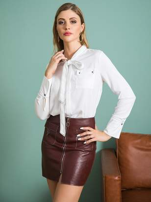 Shein Double Crazy Pocket Patch Tie Front Blouse