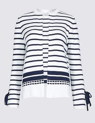 Marks and Spencer Pure Cotton Striped Cuff Tie Cardigan