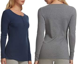 Felina 2 Pack Women's Long Sleeve Rib Knit Henley Tees