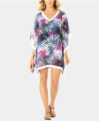 Swim Solutions Printed Crochet-Trim Caftan Cover-Up, Women Swimsuit