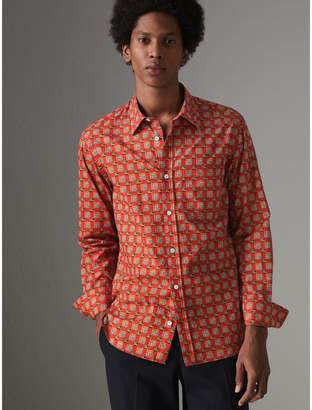 Burberry Tiled Archive Print Cotton Shirt , Size: XS, Red