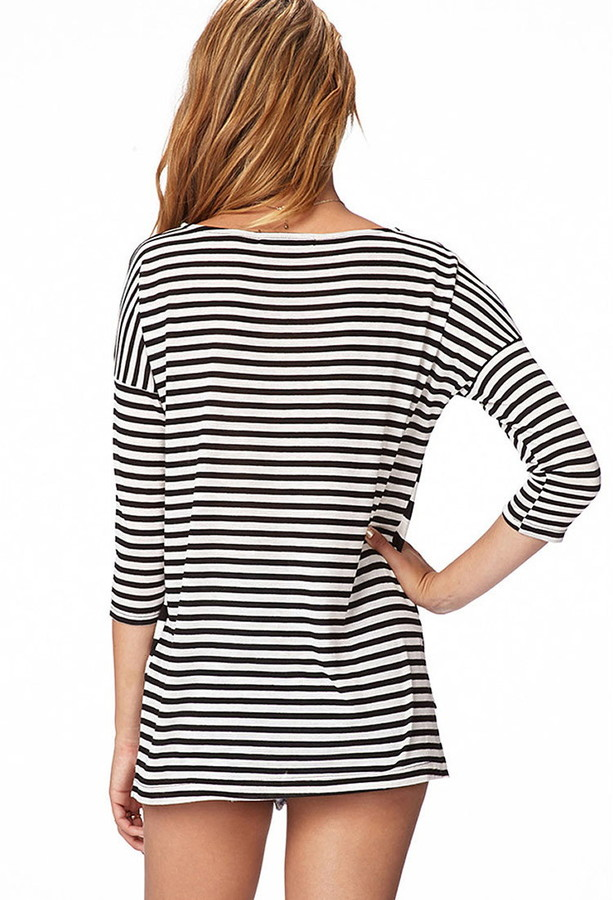 Forever 21 Multi-Stripe Relaxed Top