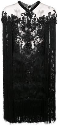Marchesa beaded fringe mini dress