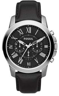 Fossil Mens Grant Chronograph Stainless Steel and Leather Watch
