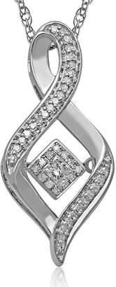 FINE JEWELRY Love in Motion 1/6 CT. T.W. Diamond Sterling Silver Swirl Pendant Necklace