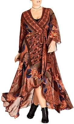City Chic Plus Lily Patchwork-Print Maxi Wrap Dress