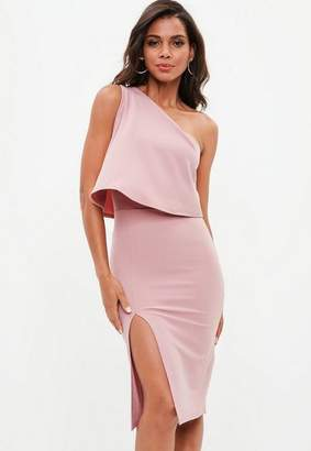 Missguided Pink One Shoulder Crepe Overlay Bodycon Midi Dress