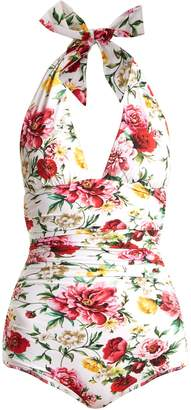 Dolce & Gabbana Halterneck ruched floral-print swimsuit