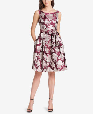Jessica Howard Petite Floral Jacquard Fit & Flare Dress