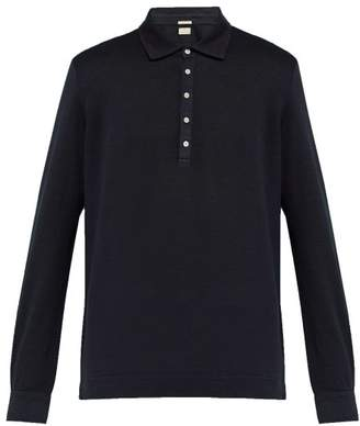 Massimo Alba Long Sleeved Linen Pique Polo Shirt - Mens - Navy