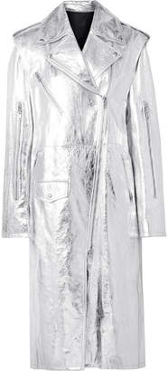 Calvin Klein Convertible Metallic Leather Trench Coat - Silver
