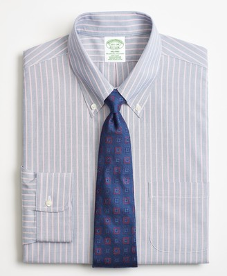 Brooks Brothers Milano Slim-Fit Dress Shirt, Non-Iron Double Stripe
