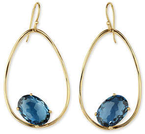 Ippolita 18K Rock Candy Tipped Oval Wire Earrings in London Blue Topaz