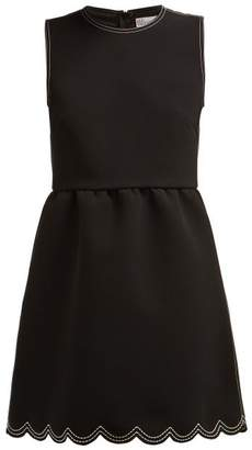 RED Valentino Scalloped Hem Cady Mini Dress - Womens - Black