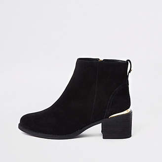 River Island Black suede block heel ankle boots