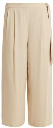 Vince Wide Leg Crepe Back Satin Culottes - Womens - Cream