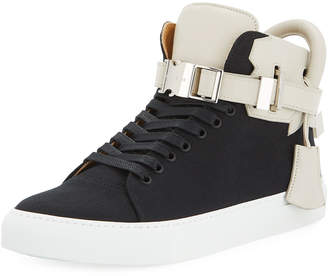 Buscemi Men's 100mm Clip Canvas Mid-Top Sneakers, Black/White