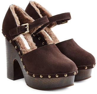 L'Autre Chose Shearling Lined Suede Platform Sandals
